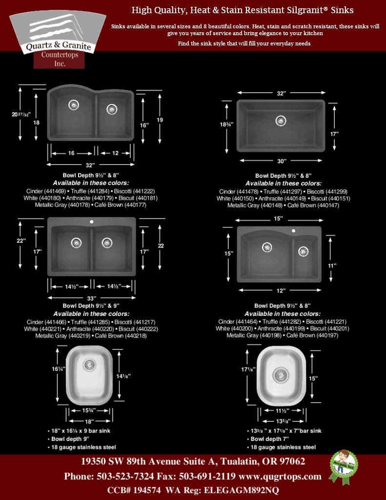 Silgranit® Sink Dimensions