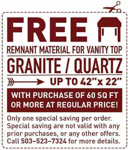 Special Offer Free Remnant for Vanity